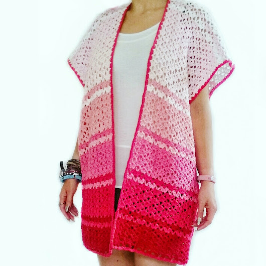 Pink Ombre Kimono Beach Cover-Up | Free Crochet Pattern