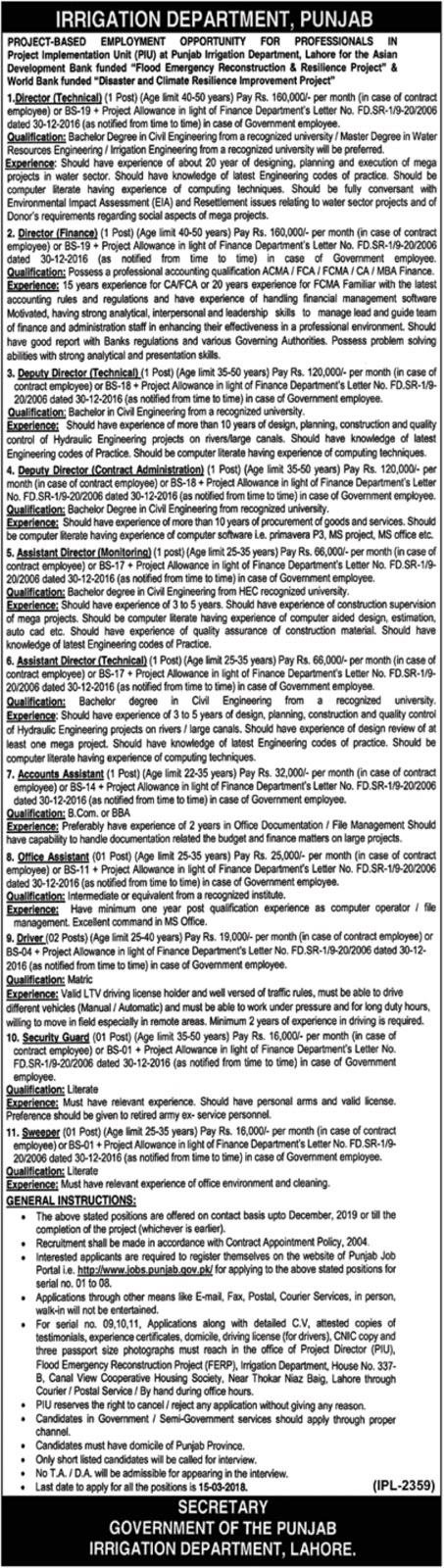 Jobs In Irrigation Department Govt Of The Punjab Feb 2018