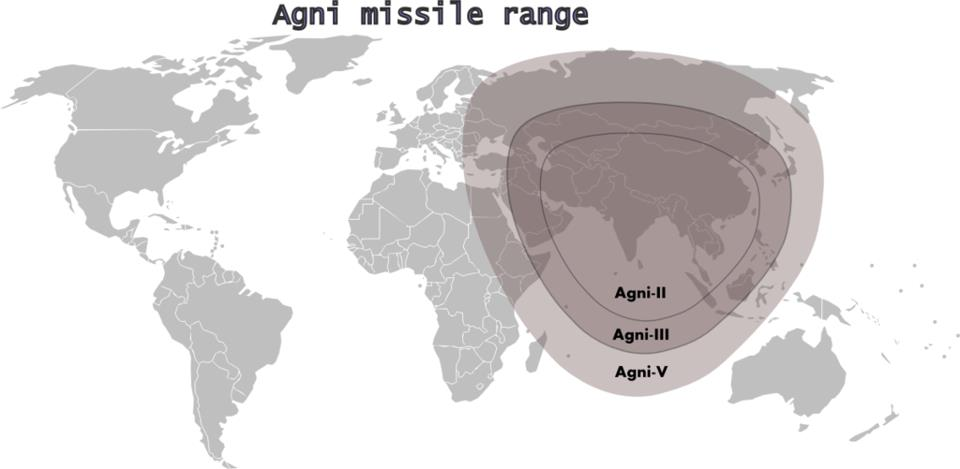 A useful graphic depiction of the Agni-V's strike range compared to the earlier Agni systems.
