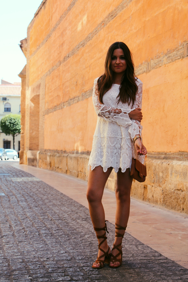 vestido verano blanco sandalias tiras