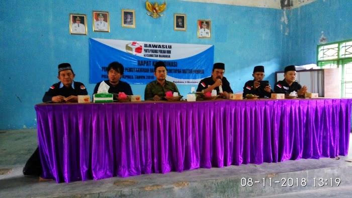 Panitia Pengawas Pemilu kecamatan Gelar Rakor Pengawasan di Aula Desa Banding kec.Kalianda Lamsel.