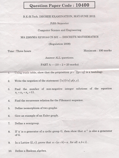 MA2265 Discrete Mathematics May June 2012 Question Paper