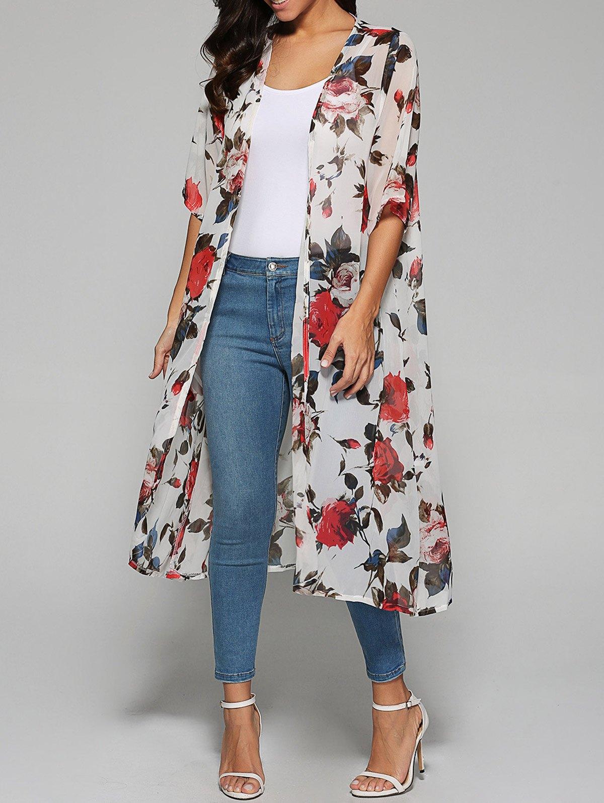 Rose Print Chiffon Kimono - White - ONE SIZE