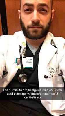 enfermero queda atrapado en un elevador