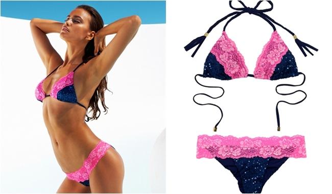 Beach Bunny blue glitter bikini with pink lace