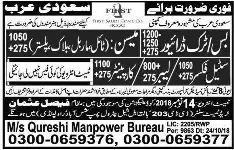 Driver jobs in Qureshi Manpower Bureau in Rawalpindi 2018