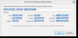 EmlViewer Pro's file naming scheme editor