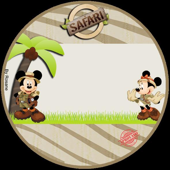 Toppers o etiquetas de Mickey y Minnie de Safari para imprimir gratis.