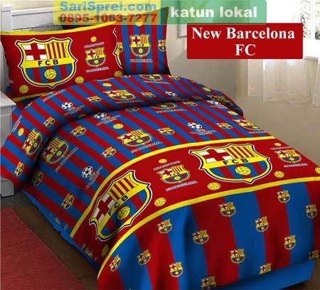 Sprei Katun Motif Anak New Barcelona Fc
