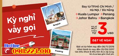 Khuyến mãi kỳ nghỉ vẫy gọi từ Air Asia giá 3 usd