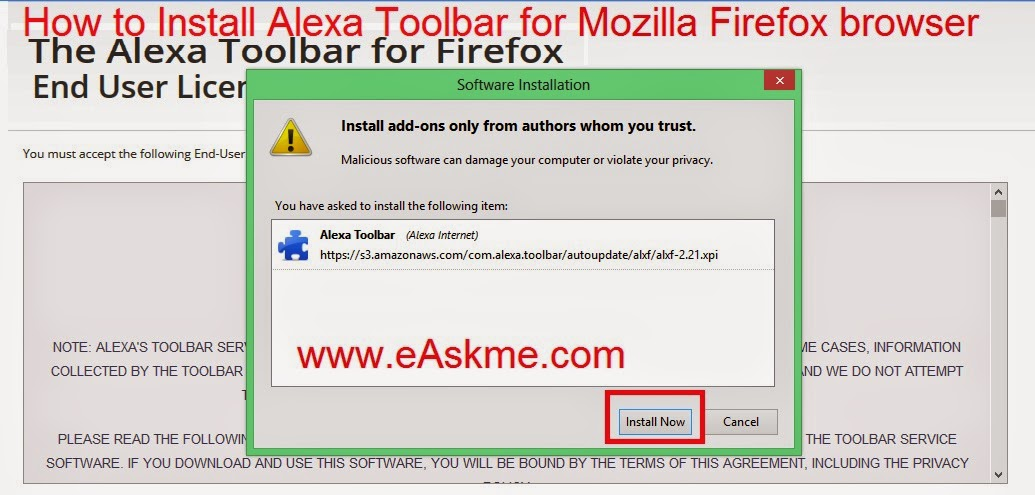 How to Install Alexa Toolbar for Mozilla Firefox Browser : eAskme