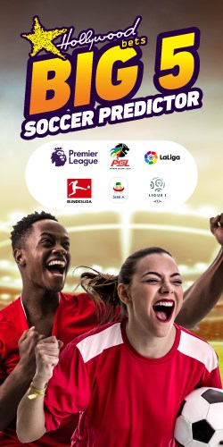 Hollywoodbets Big 5 Soccer Predictor - Man and woman celebrating with soccer