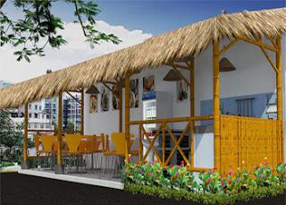 Desain warung makan pinggir jalan, lesehan, kecil, minimalis, sederhana, desain warung makan dari bambu
