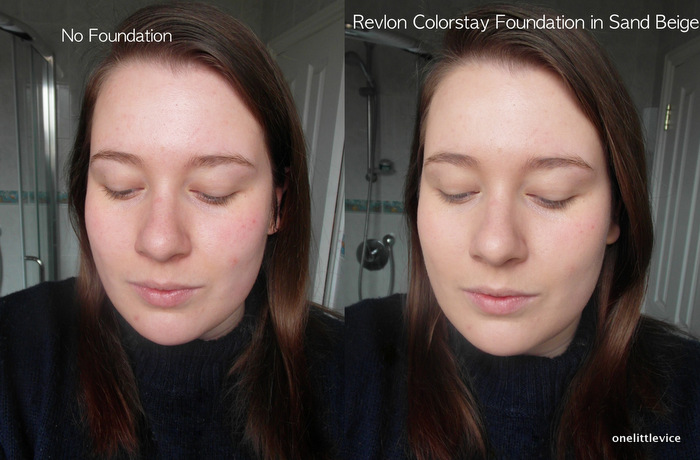 One Little Vice Beauty Blog: Revlon Colorstay Foundation Sand Beige Swatches