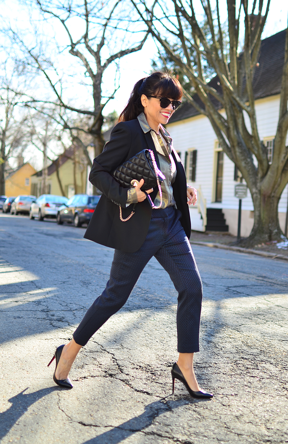 Navy with black street style