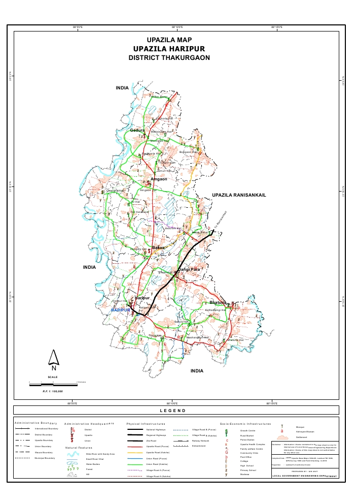 Haripur Upazila Map Thakurgaon District Bangladesh