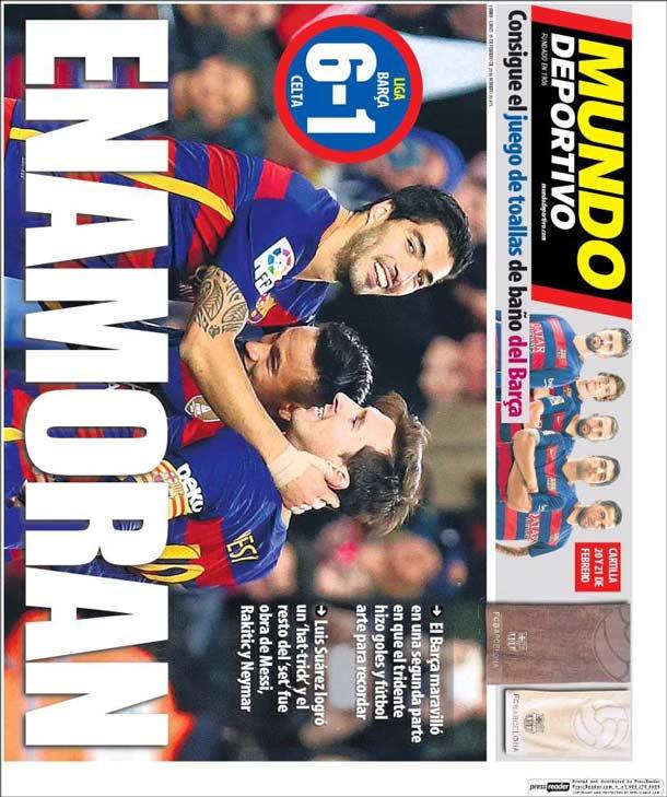 Portada del periódico Mundo Deportivo, lunes 15 de febrero de 2016