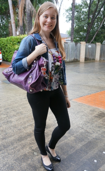floral ruffle cami on rainy day double denim with purple Balenciaga work bag | away from blue