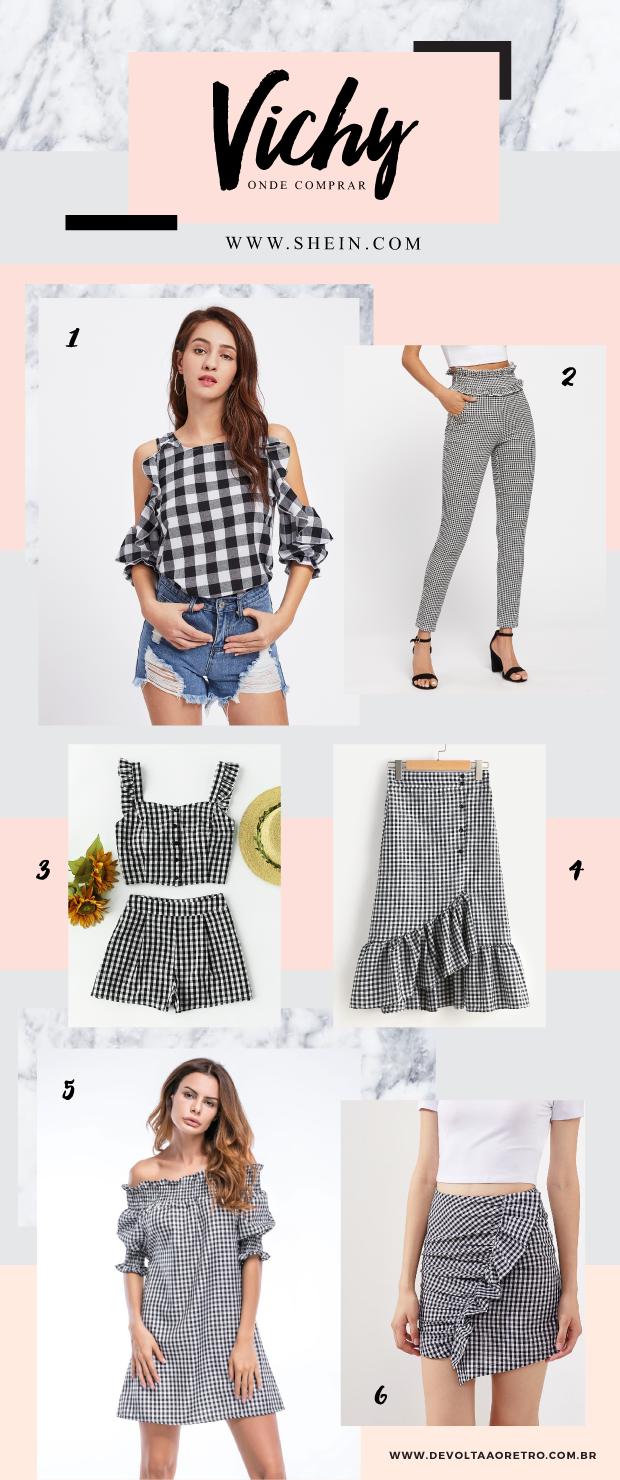 Onde comprar roupas com estampa vichy, moda 2018, Gingham