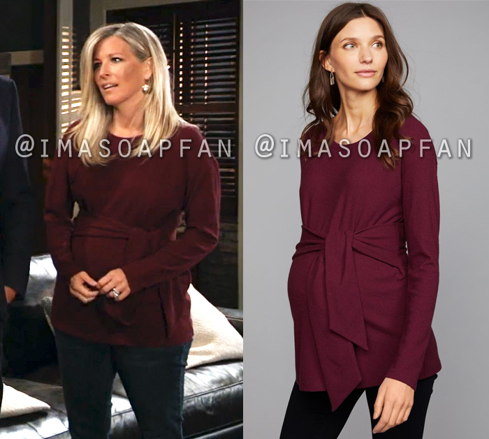 Carly Corinthos, Laura Wright, Belted Purple Maternity Top, General Hospital, GH