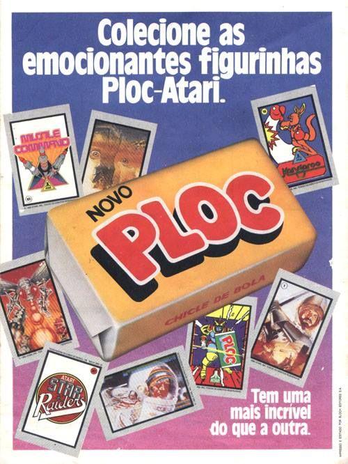 Campanha do Chiclete PLOC apresentada nos anos 80 com coleção de figurinhas do Atari