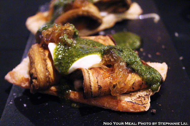 Grilled Aubergine, Mozzarella, and Caramelized Onions with Basil Vinaigrette Torrada