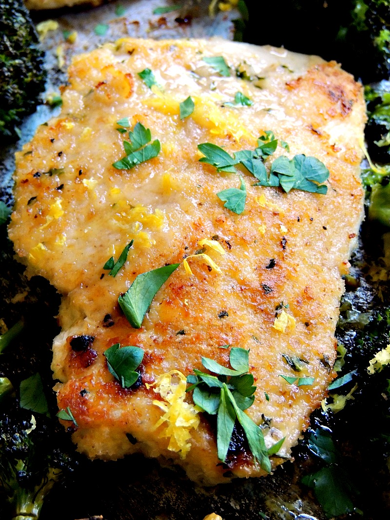 Sheet Pan Chicken Milanese - No need to use several pots and pans to make this wonderful weeknight meal. Just grab that sheet pan, and you are ready to go. From www.bobbiskozykitchen.com