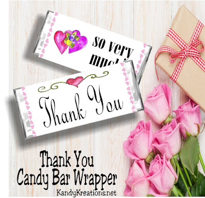 Say Thank You to your friends and family with this candy bar wrapper printable.  Printable is free when you leave a review of your purchase from our Printables Store.  So get your party printables 50 percent off right now and this free candy bar wrapper.