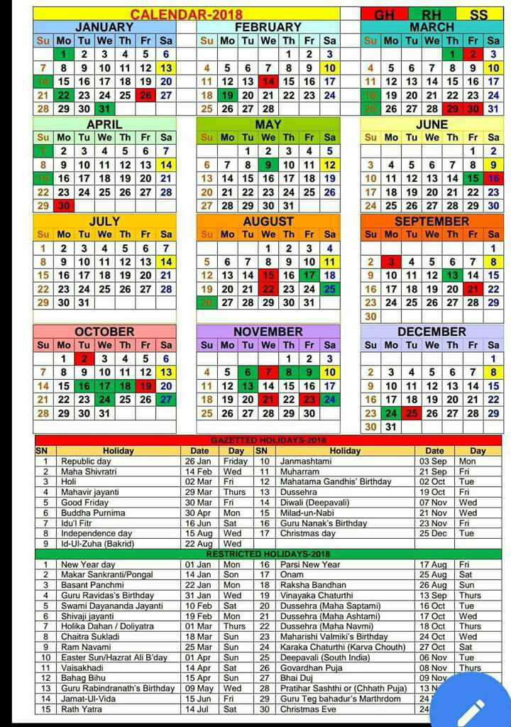 Calendar 2018 Holidays Haryana