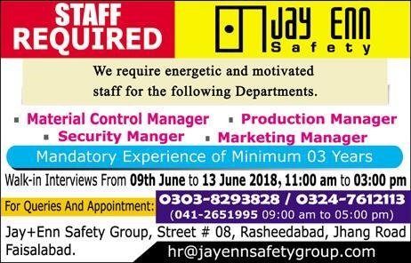 New Jobs announced in jayen safety group Faisalabad June 2018