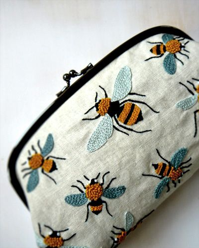 Embroidery Bee Pouch by Yumiko Higuchi