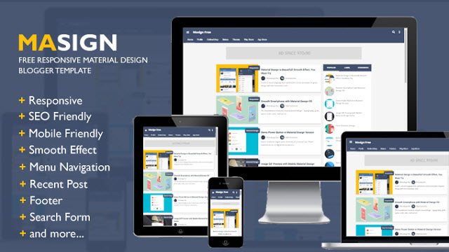 Masign Responsive Material Design Blogger Templates