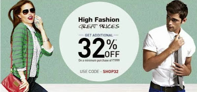 Jabong High Fashion Treat Prices : Enjoy Flat 32% Additional Off on Minimum Purchase  worth Rs.1999 and above