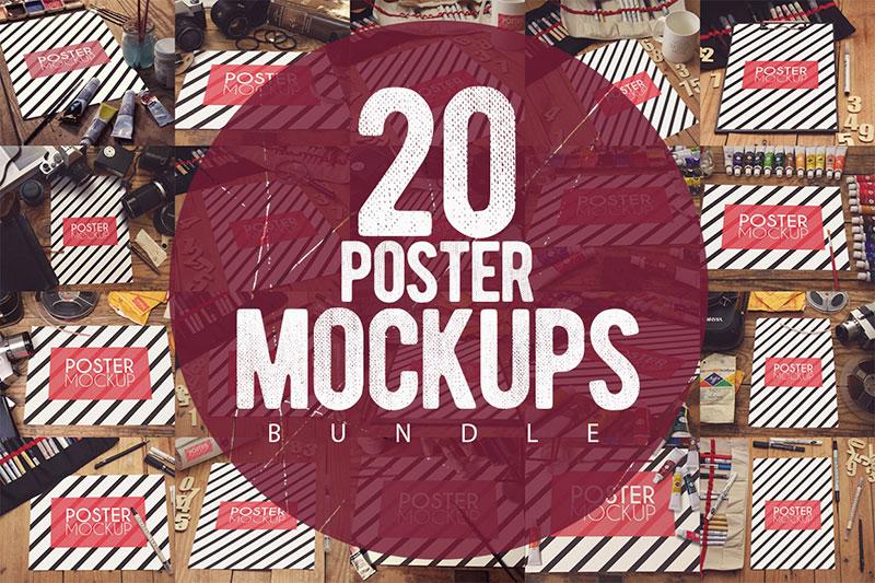 20 Poster Mockups Bundle