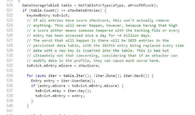 Código de Firefox explicando el límite de 1024 entradas