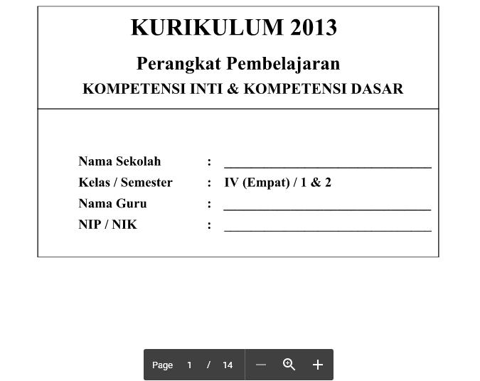 KI KD Kurikulum 2013 SD Kelas 4 Revisi 2016