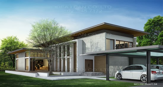 Modern style 2 story home plans for construction in thai for Thai modern house style