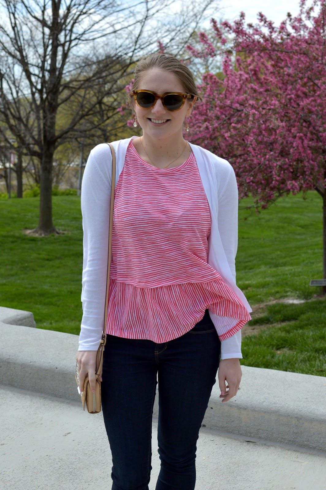 red and white striped peplum top | cute outfits for spring | a memory of us