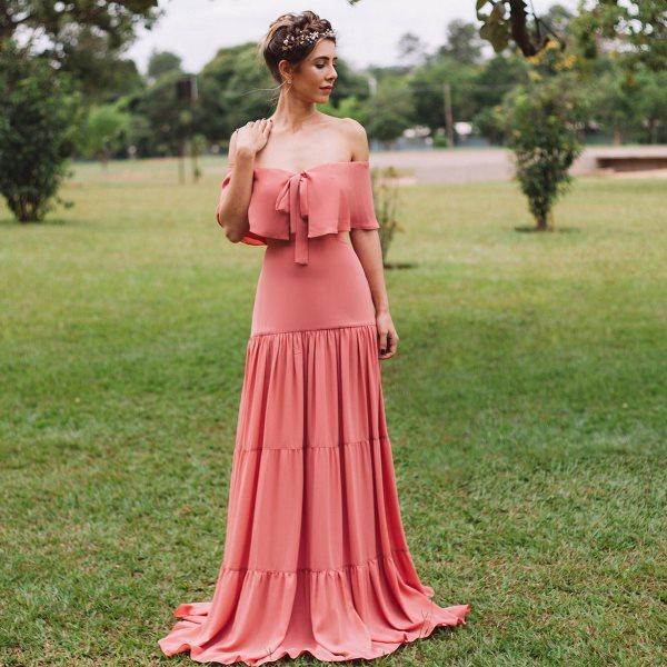 vestido de festa rosa antigo