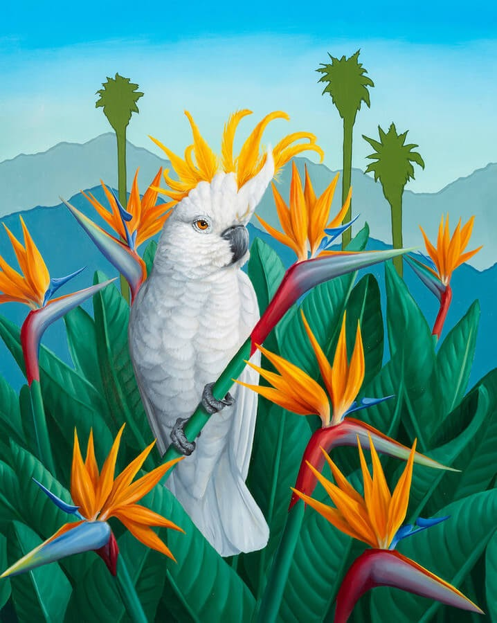 04-Bird-of-Paradise-Cockatiel-Jon-Ching-Animal-Oil-Paintings-www-designstack-co