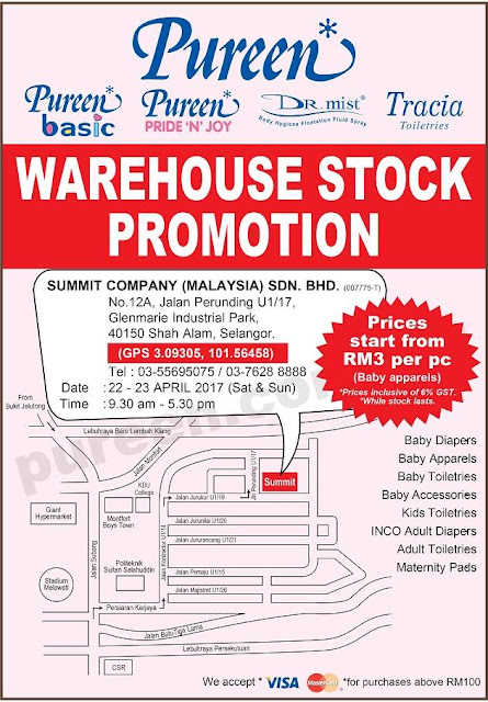 Pureen Warehouse Stock Sale Promotion