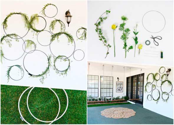 mural plantas, aros con plantas, jardinería, decoración, manualidades