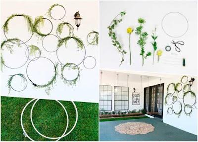 Decoración mural flora con bastidores o aros de alambre