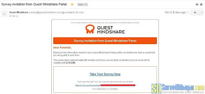 Undangan survey online dari paid survey Quest MindShare | SurveiDibayar.com