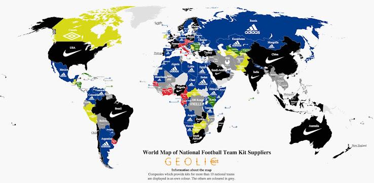 World Map of National Football Team Kit Suppliers - Footy Headlines b65b93c91