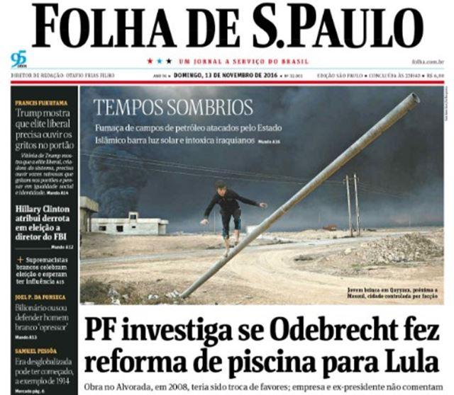 Fac-símile da edição de domingo da Folha de São Paulo