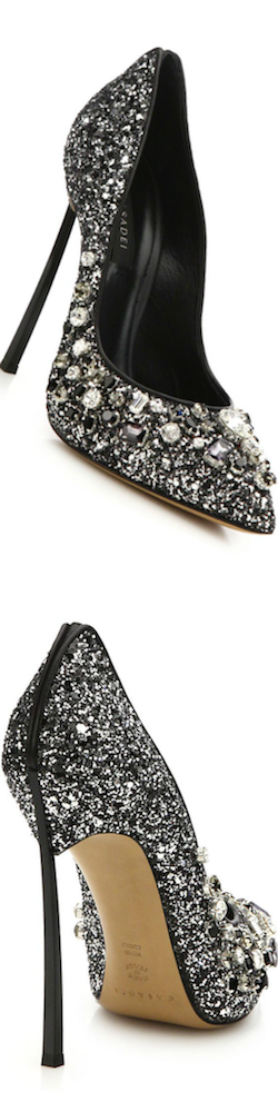 Casadei Glittered Jewel-Embellished Pumps