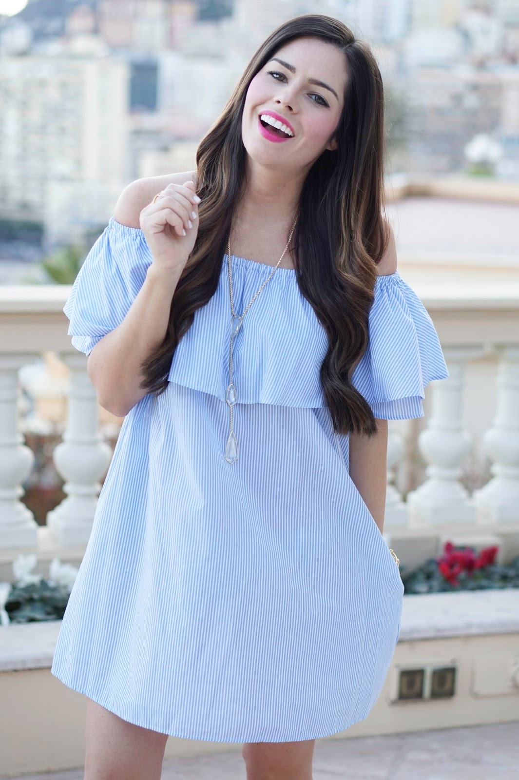 About Flaunt and Center Fashion blogger Tiffany Jais | Monte Carlo wearing a Zara ruffle dress with a Kendra Scott necklace