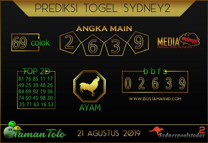 Prediksi Togel SYDNEY 2 TAMAN TOTO 21 AGUSTUS 2019