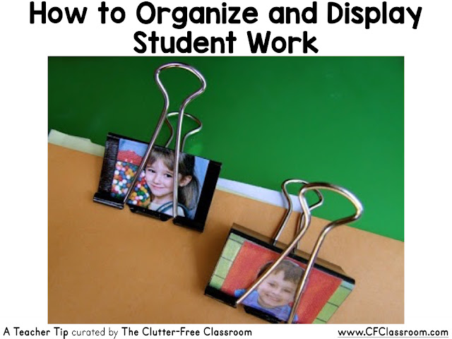 Are you looking for a creative way to organize and display student work? This blog post from the Clutter-Free Classroom shows teachers how to make personalized binder clips using their students' photos.